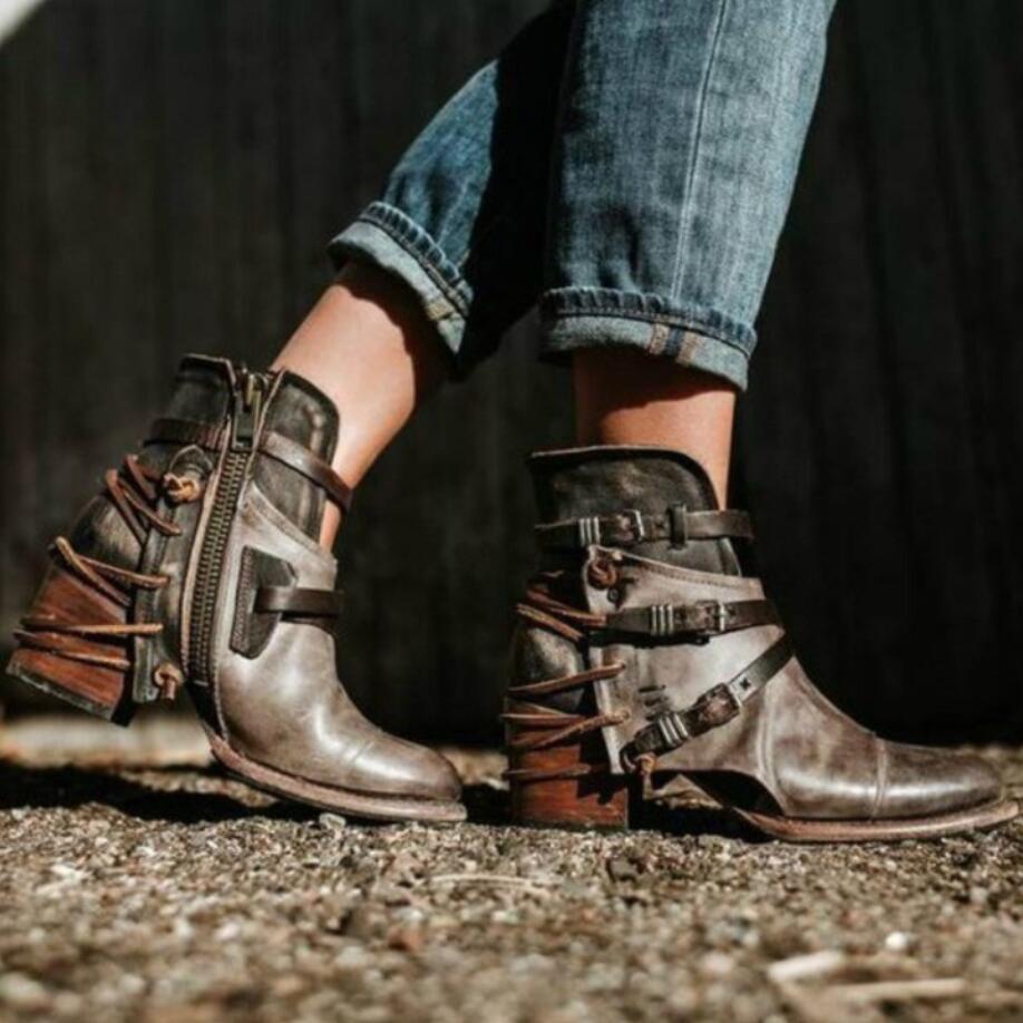 Cheville A1 Femmes Vintage Alliés Pu Bout 2019 Rond Cuir Bottes a2 Moto D'hiver Sangles Avant En Chaussures Faible New Talon wtwPxAqEU