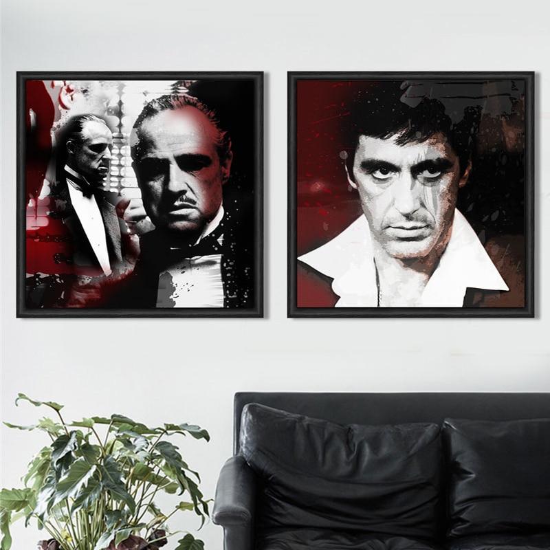 Cartel de película del padrino retrato cuadros moderno blanco y ...