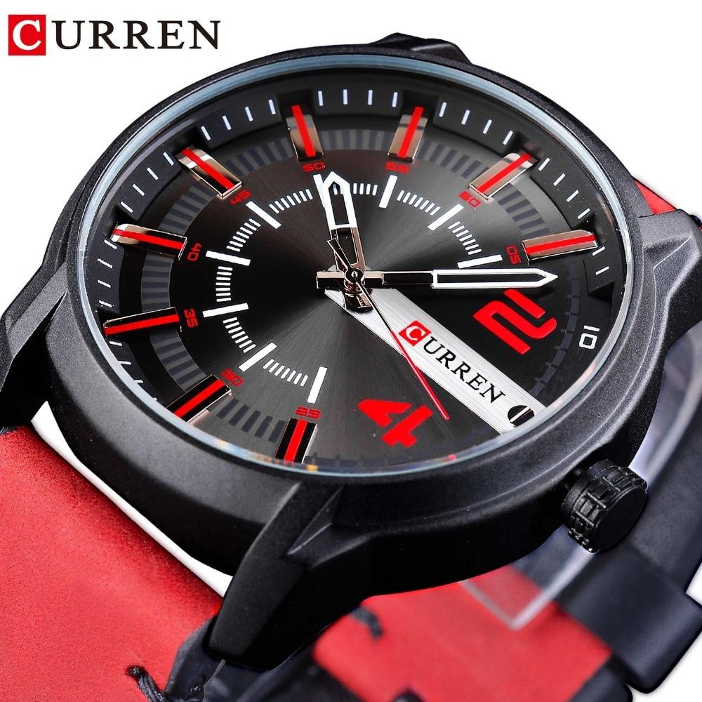 CURREN Red Genuine Leather Belt 2018 Fashion Racing Design Mens Sport Quartz Watches Top Brand Luxury Male Clock Montre Homme