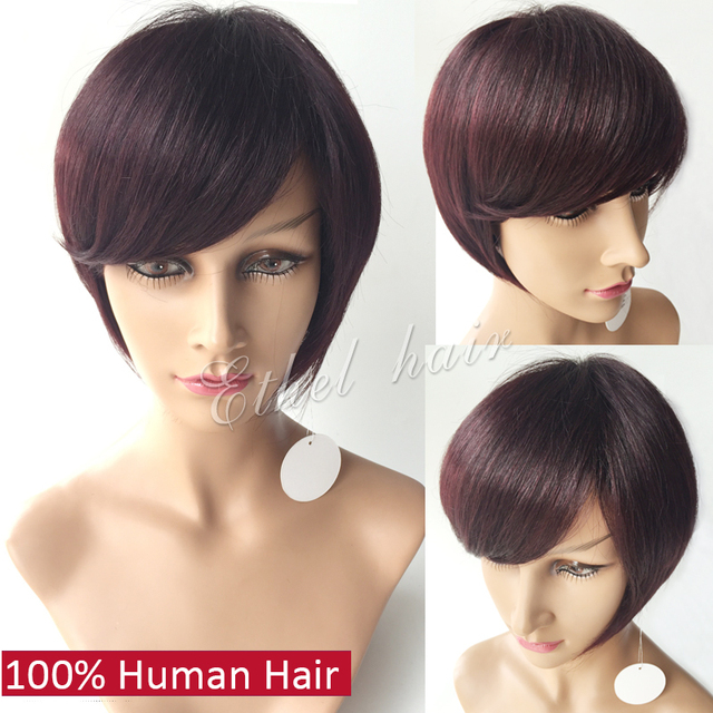 7a Grade Short 100 Human Hair Bob Wigs For Black Women 99j Burgundy