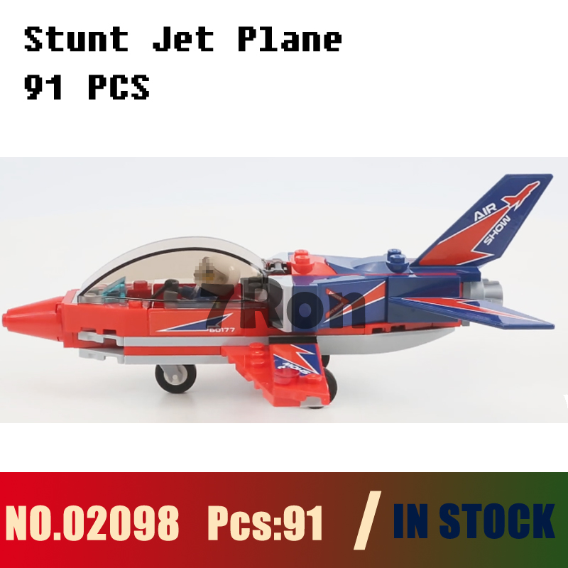 Compatible with lego city 60177 Models building toy 02098 91pcs City Aerial Stunt Jet Plane Pilot Building Blocks toys & hobbies