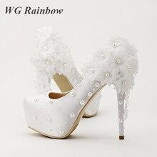 Weiße Blume Hochzeit Schuhe Perlen Sicken Plattform Brautpumpen Elegante Dame Abend Party Kleid Schuhe