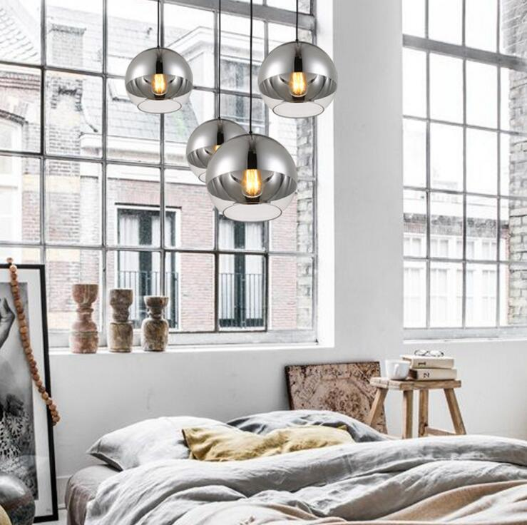 Plating space glass ball Nordic post-modern restaurant chandelier simple bedroom bar creative light led lighting fixture led nordic post modern denmark creative chandelier art crown bar coffee shop decoration light dining lights