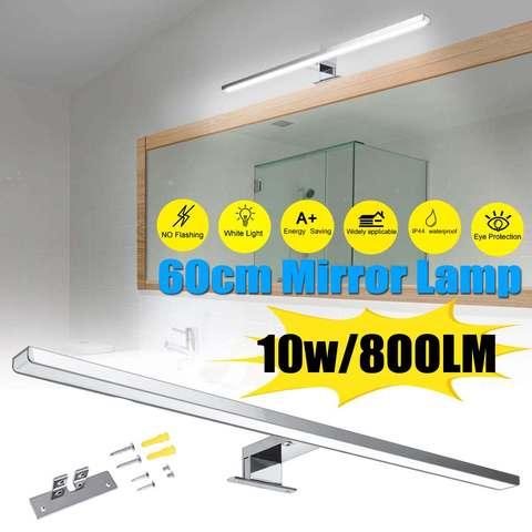 10 w 800lm iluminacao de aluminio a prova d800agua interior led espelho lampada parede branca