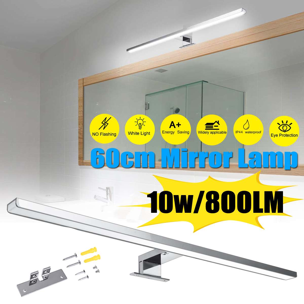 10W 800LM Waterproof Aluminum Lighting Indoor Led Mirror Wall Lamp White Wall Light 60cm Bathroom Restroom Mirror Makeup light