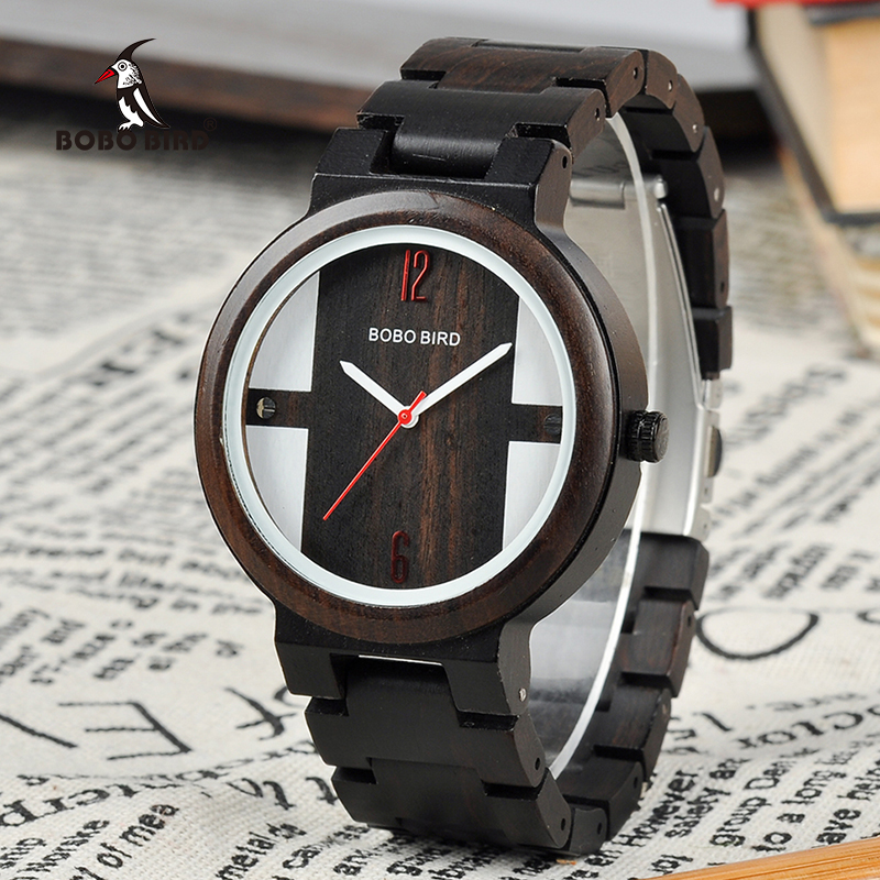 лучшая цена BOBO BIRD Men Wooden Watch Quartz New Arrivals WristWatch for Male Zebra Ebony Wood in Gift Gox saat erkek clock