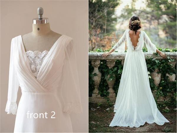 Sexy Chiffon 3/4 Sleeves and Backless Bridal Dress Long Beach Wedding