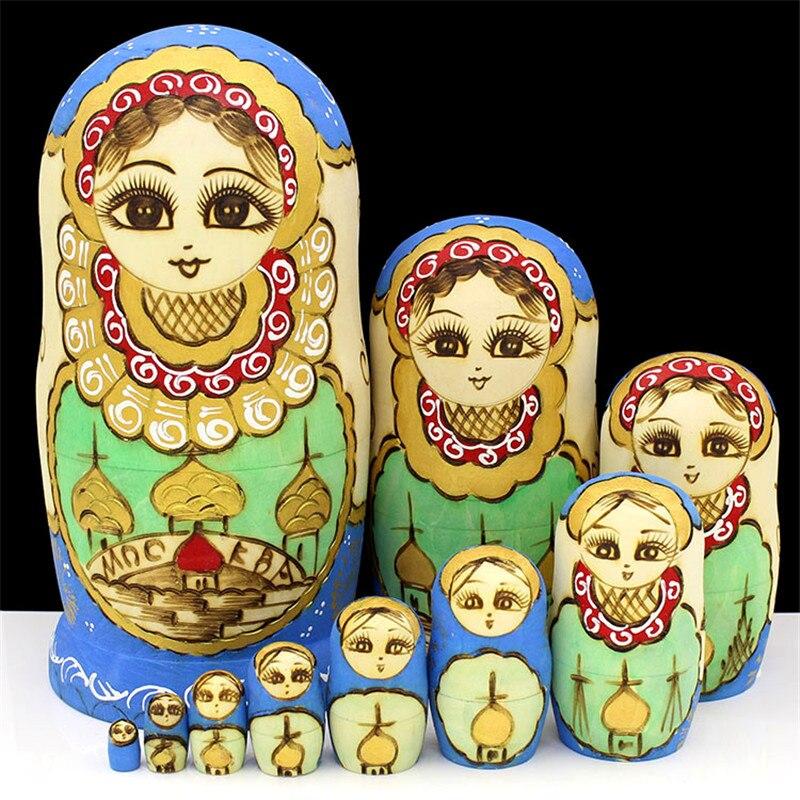 Livraison Gratuite 10 pièces Poupées Russes Sculpté À La Main Sèche Tilleul Matryoshka Poupée de Nidification En Bois Jouets L30