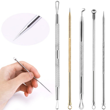 5pcs/set Blackhead Whitehead Removal Needle Face Care Stainless Steel Comedones Acne Blemish Pimple Extractor Remover Kit Tool