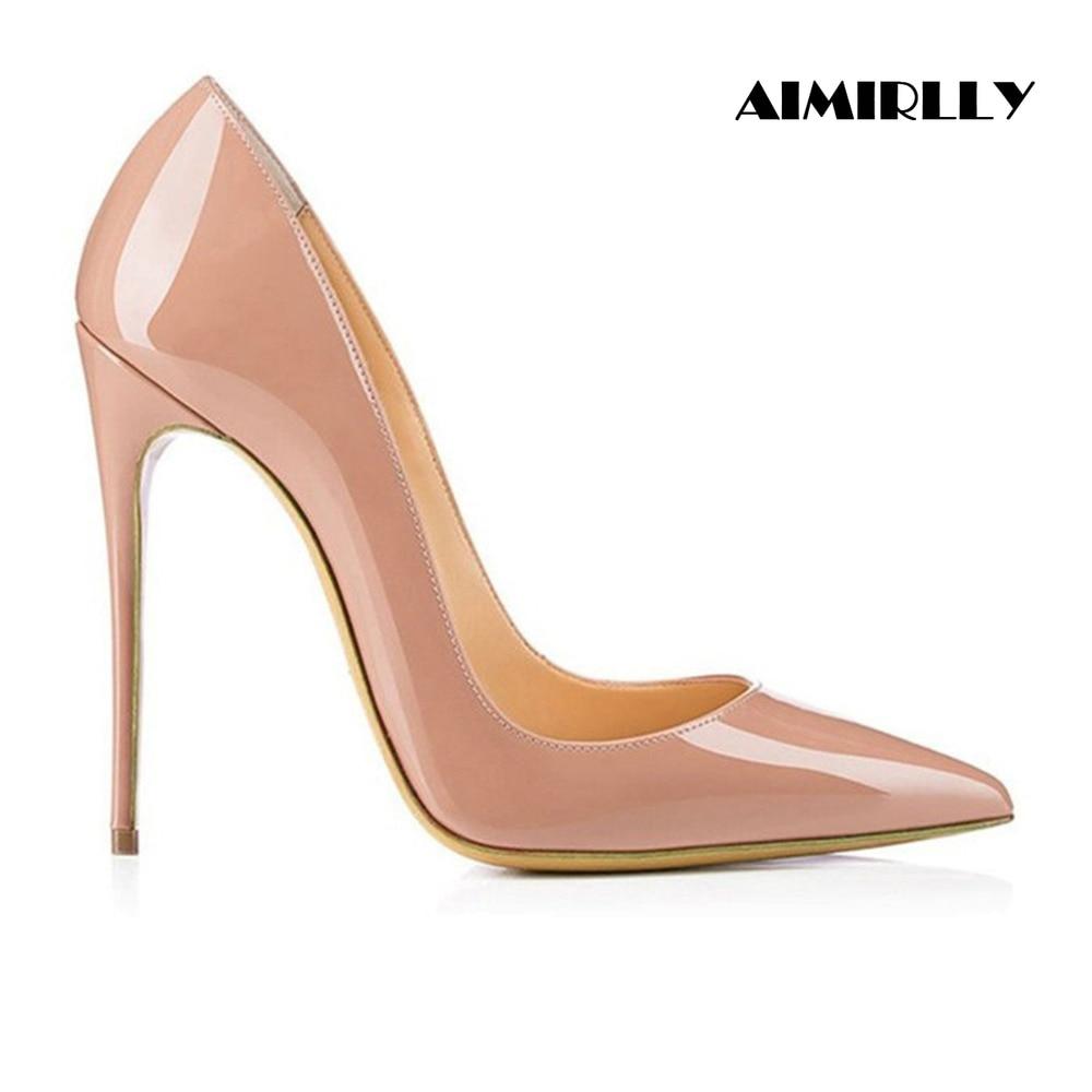 Aimrilly primavera moda señoras zapatos de tacón alto hecho a mano cómodos zapatos puntiagudos tamaño US 4 15,5 venta al por mayor-in Zapatos de tacón de mujer from zapatos    1