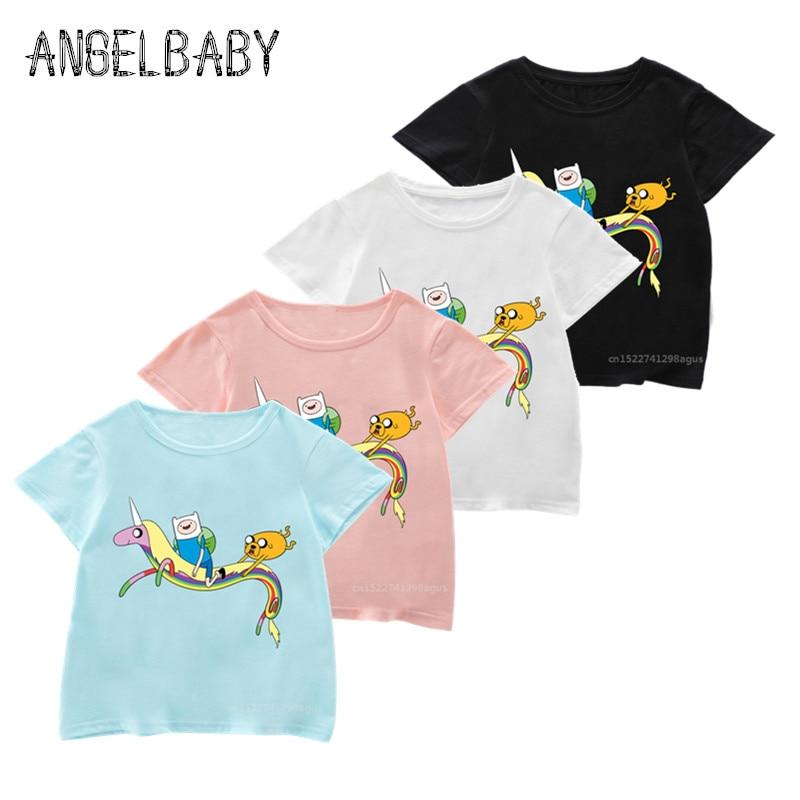 Girls Boys Adventure Time Finn and Jake Funny Print T Shirt Kids Cartoon Summer Tops Children Novelty T-shirt,5200M(China)