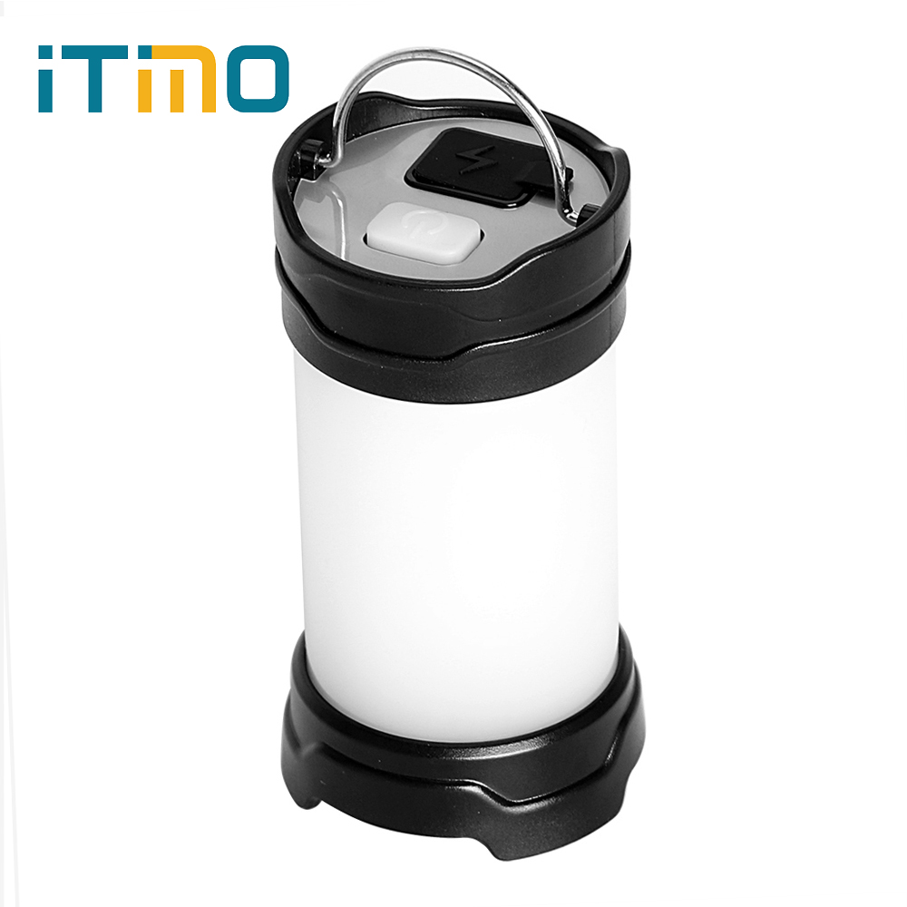 ITimo Portable Lanterns USB Recharge 7 Modes 18650 Battery Power Flash LED Outdoor Power Bank White/Red Camping Lamp Light