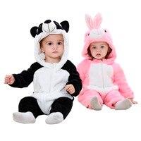0 24 Month 3D Panda Cute Animal Kids Sleepwear Soft Flannel Children S One Piece Footed