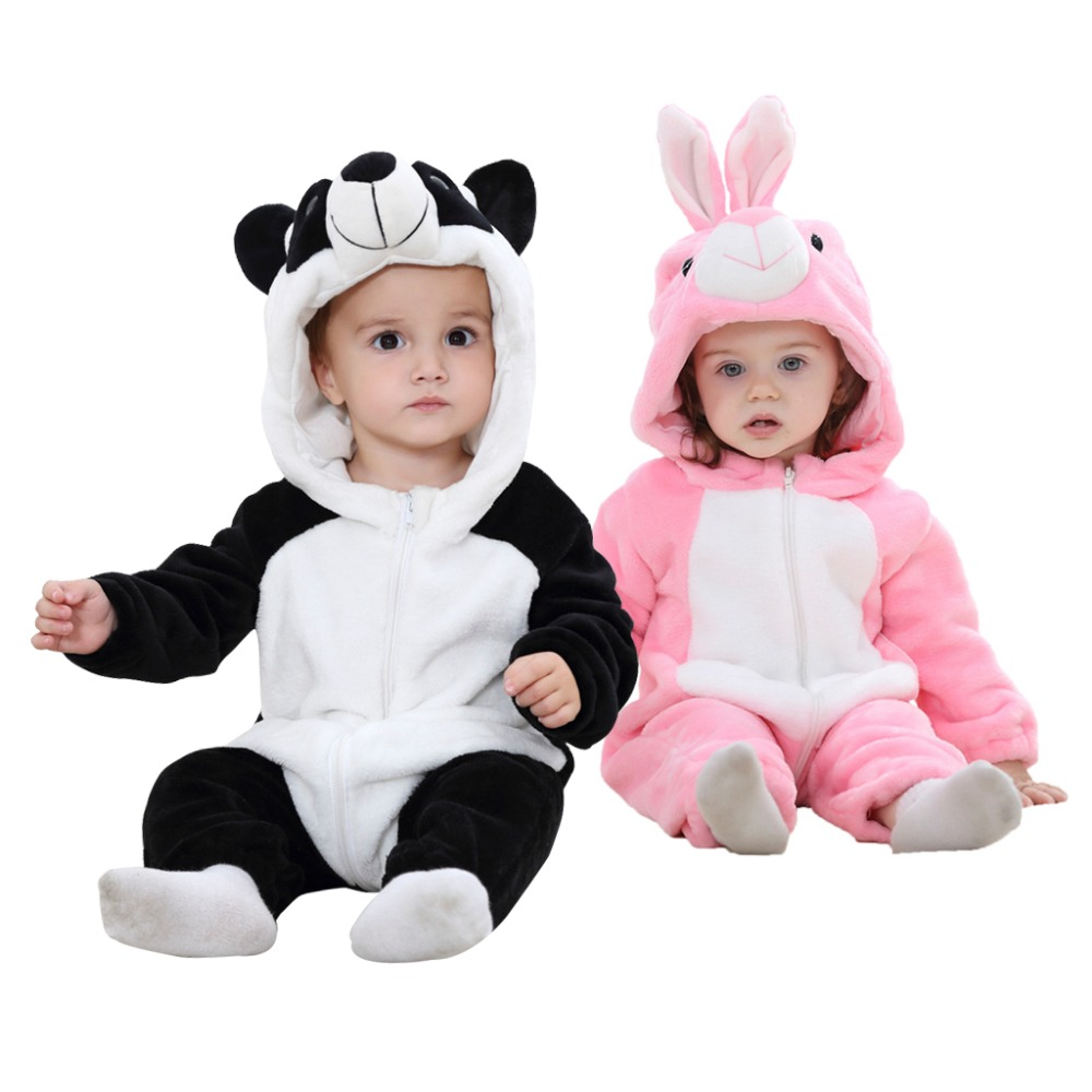 Flannel Cute Cartoon Animal Baby Jumpsuits for Infants Newborn Rompers Boys Girls Toddler Hooded Clothing 0-24M puseky 2017 infant romper baby boys girls jumpsuit newborn bebe clothing hooded toddler baby clothes cute panda romper costumes
