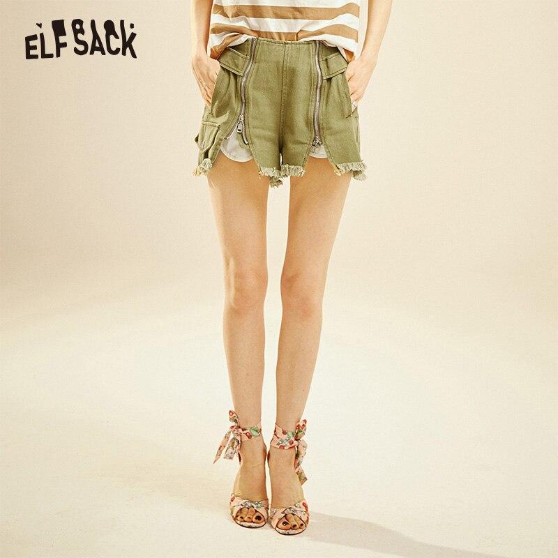 ELFSACK Army Green Frayed Denim Women Shorts 2019 Summer Fashion Casual Hot Short Female Jeans Streetwear Vintage Femme Bottoms