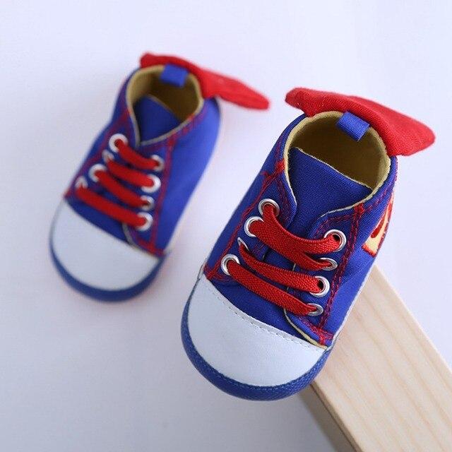 d75547ce4cc9e 2017 Chaude taille 11 ~ 14 cm bébé chaussures bleu S superman coton enfant  en bas