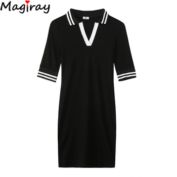 Magiray Half Sleeve Polo Collar Mini Dress Bodycon Casual Summer Lady T Shirt Dress Vestidos Robe Femme 2020 Sexy Contrast C172 1