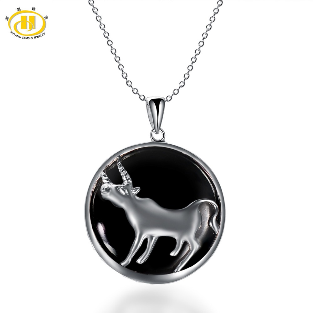 Hutang Taurus Zodiac Pendant Natural Black Jade 23mm Solid 925 Sterling Silver Necklace Women