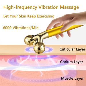 Image 2 - 2 in1 gesicht walze massager abnehmen gesicht roll 24k gold farbe vibration gesicht gesichts massager bar haut wrinkle lifting bar