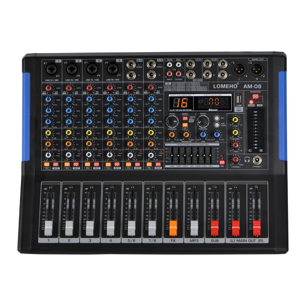 LOMOEHO AM-08 2 Mono + 1 สเตอริโอ 4 ช่อง Bluetooth USB 48V Phantom Professional DJ Mixer