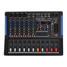 LOMOEHO AM 08 2 Mono + 1 สเตอริโอ 4 ช่องBluetooth USB 48V Phantom Professional DJ Mixer