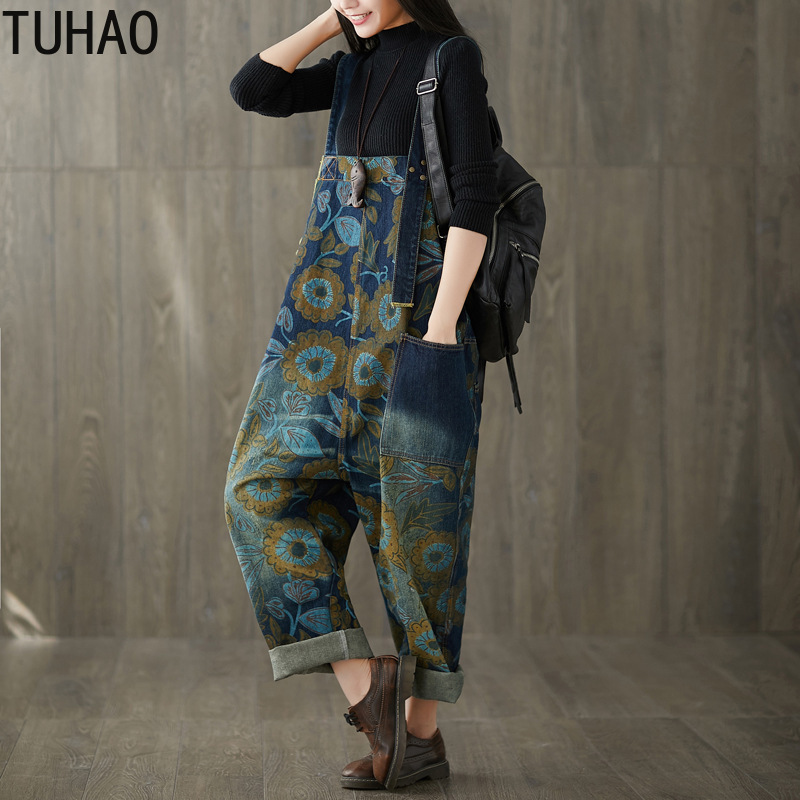Plus Size Women Summer Vintage Wide Leg Pants Denim Jumpsuit Jeans Loose Work Jumpsuits Romper Retro Print Overalls LLJ