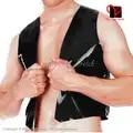 Chaleco de látex Sexy negro sin mangas camiseta superior de goma ropa abrigo ropa XXX plus SY 078