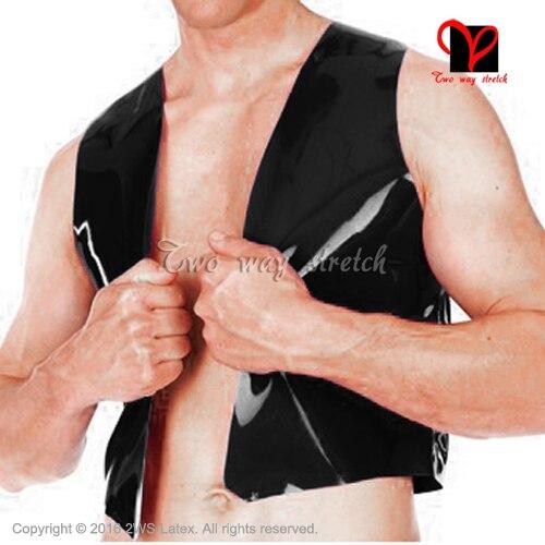 Noir Sexy Latex gilet sans manches maillot de bain haut en caoutchouc chemise vêtements manteau vêtements XXX plus SY-078