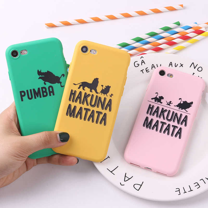 For iPhone 6S 5S SE 8 8Plus X 7 7Plus XS Max Soft TPU Silicone Matte Case Fundas Coque Cover Lion King Pumba Hakuna Matata
