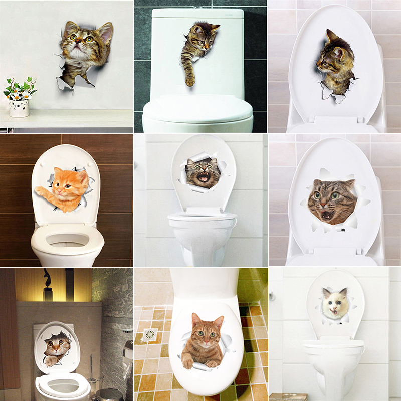 Cats Dog 3D Wall Sticker Bathroom Toilet Living Room Kitchen Decoration Animal Vinyl Art Sticker Poster