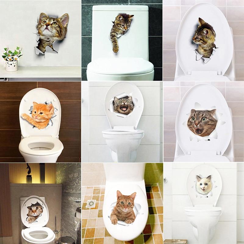 Cats Dog 3D Wall Sticker Bathroom Toilet Living Room Kitchen Decoration Animal Vinyl Art Sticker Poster