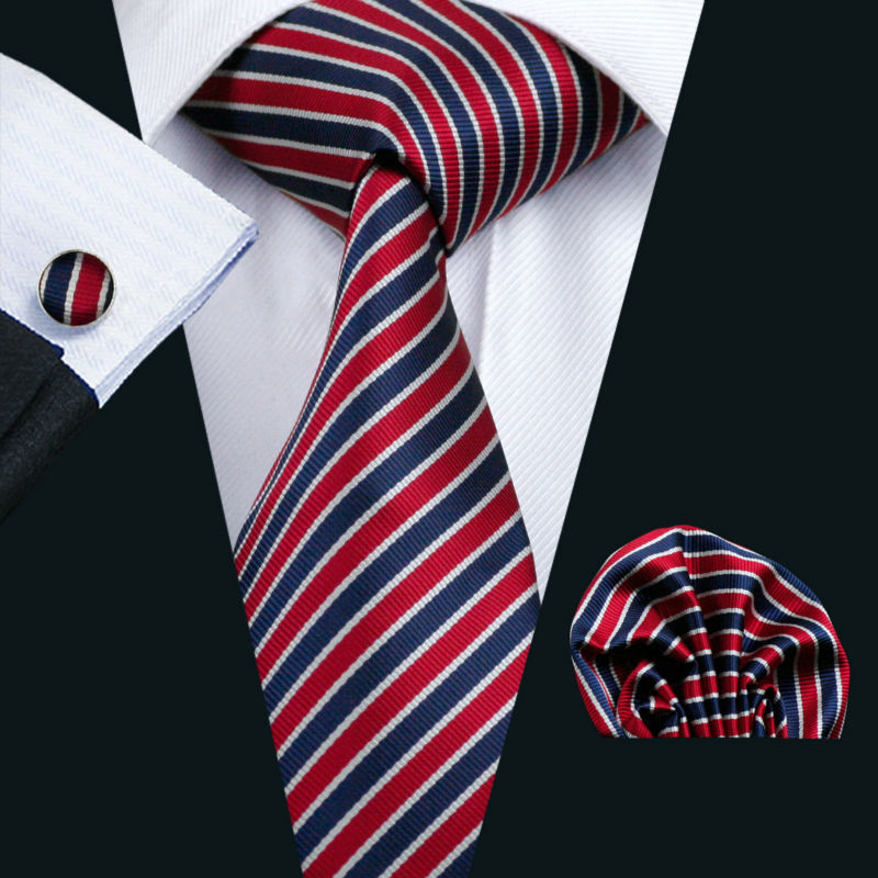 LS-512 Dropshipping Men`s Tie Striped Jacquard Woven 100% Silk Gravata Barry.Wang Hanky Cufflink Neck Tie For Wedding Business