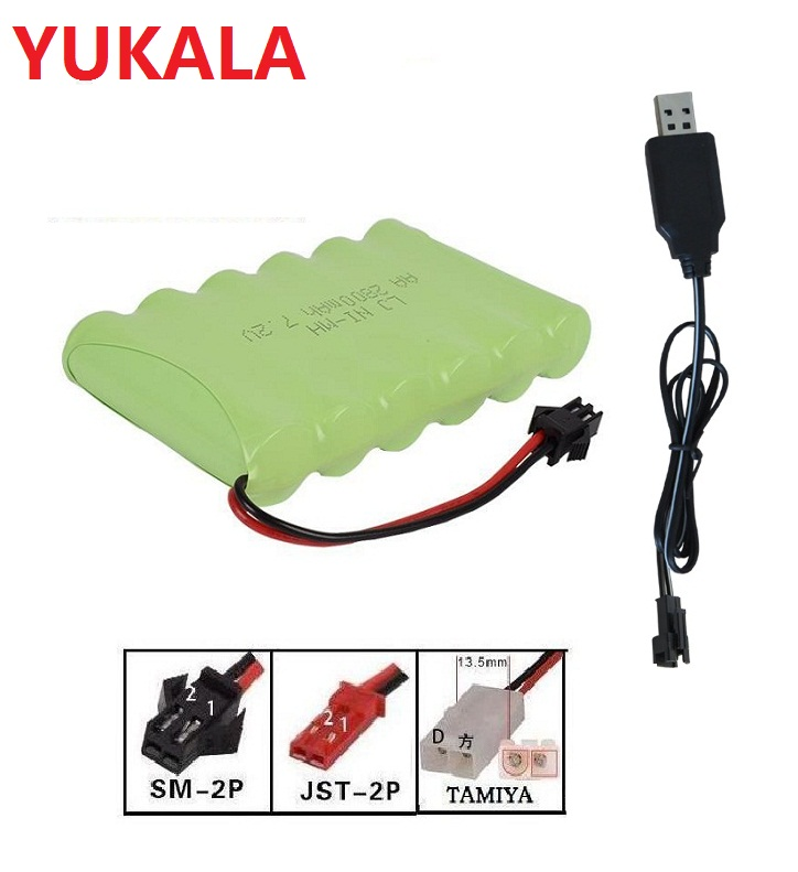 <font><b>7.2v</b></font> 2800mah H style High capacity AA Ni-MH rechargeable Battery+usb charger for RC car RC trucks RC boat JST/<font><b>TAMIYA</b></font>/SM-2P plus image