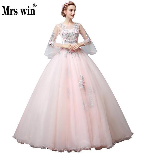 15c043c62 Vestidos De Quince años 2018 De lujo hecho a mano De flores Peals  Quinceañera Vestidos De