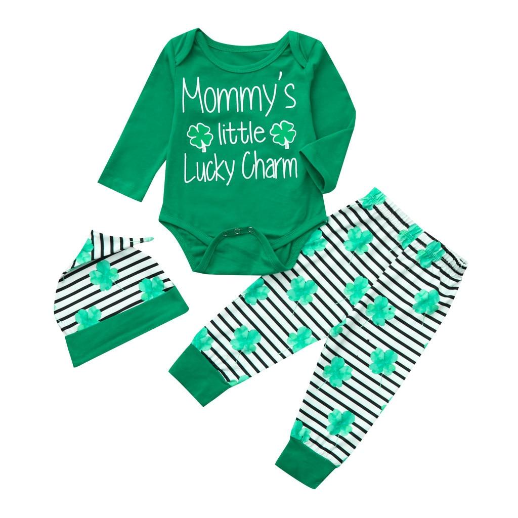 95e172b1de93 baby clothes set infant girl clothing Letter Romper Pants hat st patricks  day baby boy clothing
