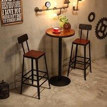 Столы для кафе мебель из массива дерева+ железо круглый барный стол Маленький журнальный столик минималистичный стол современного дизайна сборка 45*45*105 см