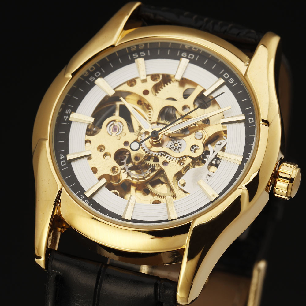2016 WINNER Autoamtic Mechanical Men Women Watches Classic Silver Golden Case Skeletondial Real Leather Strap Relogio