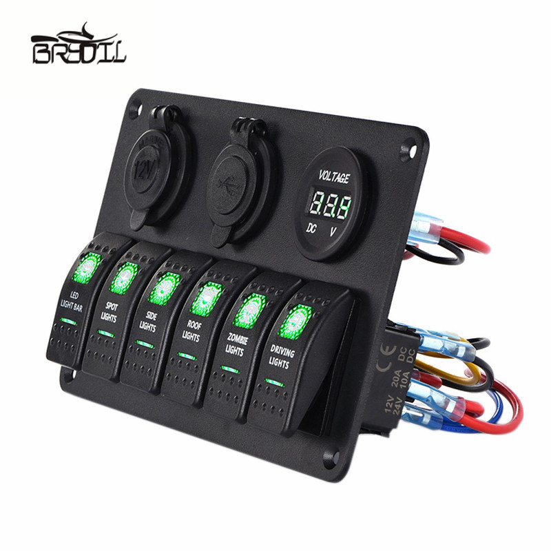 USB 12V 24V ABS 6 Gang waterproof car marine boat circuit green led rocker control switch