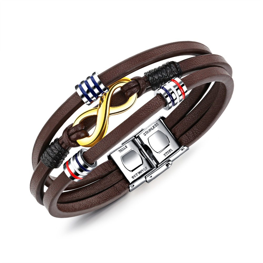 Fashion personality multi-layer brown woven leather rope High quality infinite 8 word men's bracelet Holiday gifts 3-PH1217