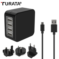 TURATA Universal Adapter 4 USB Port Travel Charger USB Socket World Travel AC Power Charger Adaptor with AU US UK EU Plug