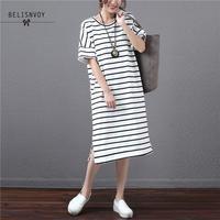 7ed6b73a8fc02 Summer Dress Korean Fashion Women Cotton T Shirt Midi Dresses Ladies  Oversized Classice Colorful Striped Vestidos