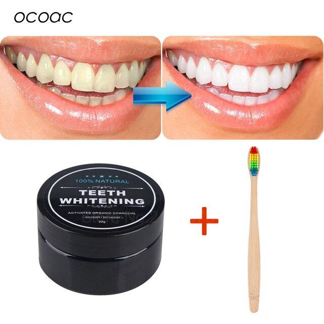 2 piezas de polvo de carbón para blanquear los dientes y cepillo de dientes de arco iris de bambú Cuidado Oral Polvo de dientes de carbón activado natural higiene bucal