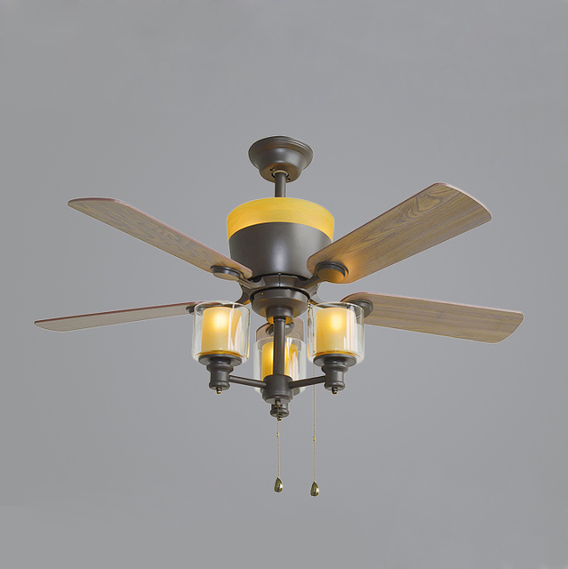 48 Inches Ceiling Fan With Light 5 Wooden Leaves 3 E14 Bulbs For Up