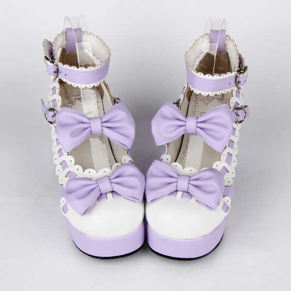 Prinses zoete lolita shose Lolilloliyoyo antaina vrouwelijke schoenen hoge hak boog prinses schoenen 9896a zwart-wit cosplay
