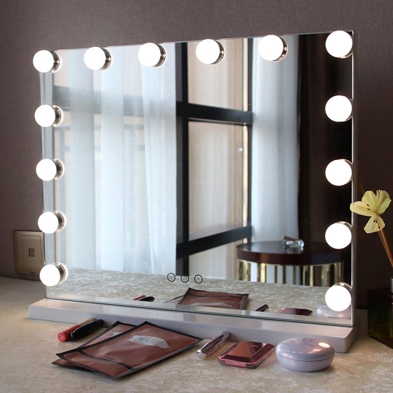 Makeup Mirror Light Bulbs Kit 10 LED USB String Lights Adjustable Brightness Cosmetic  Light Touches Control Vanity Mirrors Lamp
