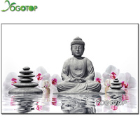 5D Diamond Painting Cross Stitch Orchid Buddha Diamond Embroidery Square Drill Full Diy Diamond Mosaic Home