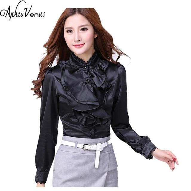 Plus Size Women Blouse Mujer De Moda Long Sleeve Ruffle Shirt