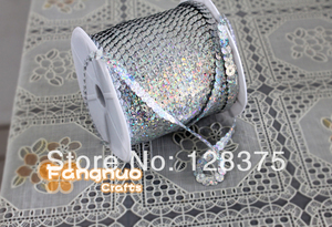 6mm glitter, string line sequins, clothing, footwear accessories, 100 yards / roll, PVC sequins Laser Silver