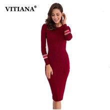 Vitiana Для женщин трикотажные тонкие вечерние Платья-свитеры Женская зимняя обувь осень с длинным рукавом Bodycon Повседневные платья Элегантный Vestidos Бесплатная Размеры