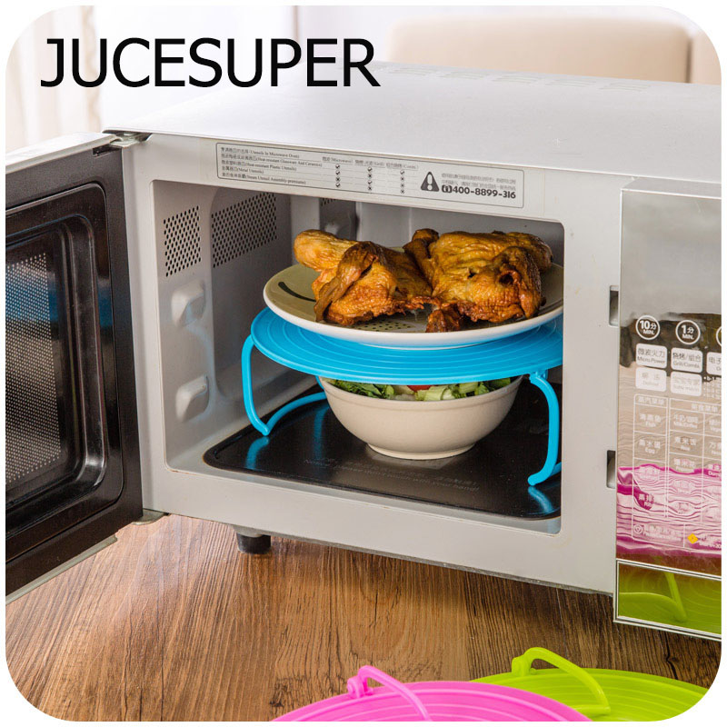 4 in 1 Microwave Plastic Stand Plastic Steaming Stacker Cooling Rack Foldable Multi function Kitchen Storage